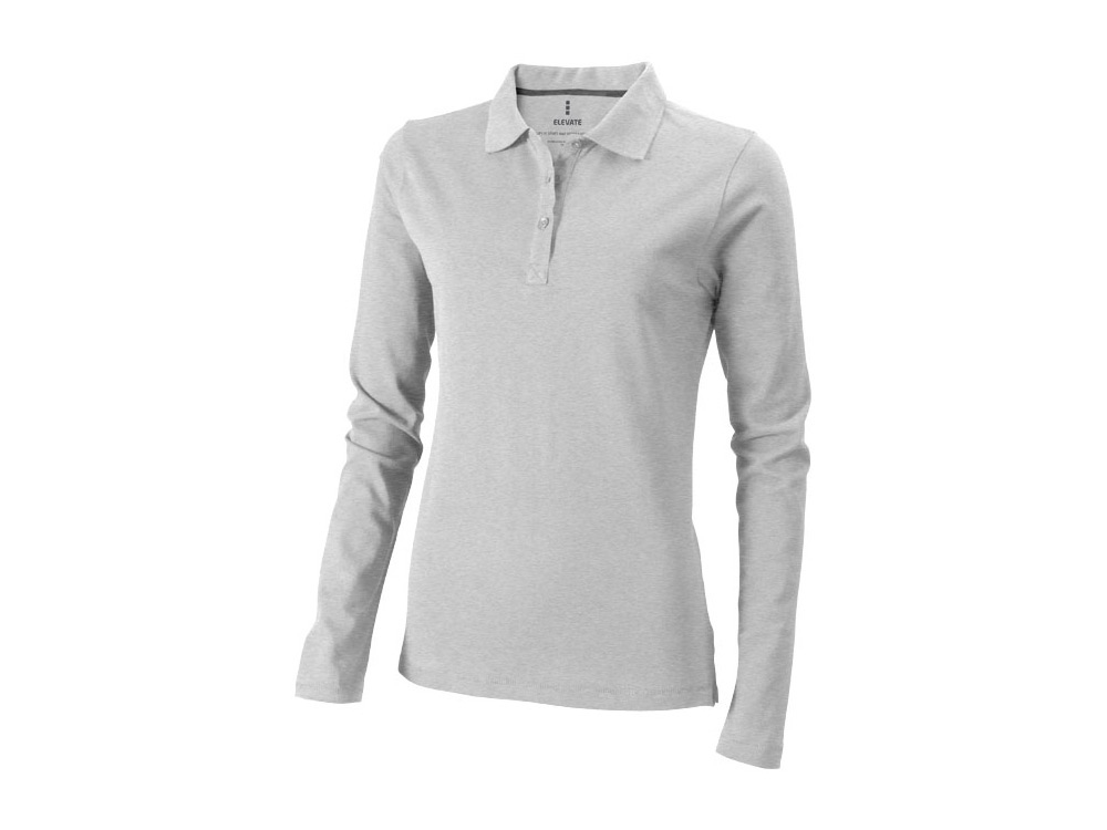 Рубашка поло Oakville женская с длинным рукавом, серый меланж
