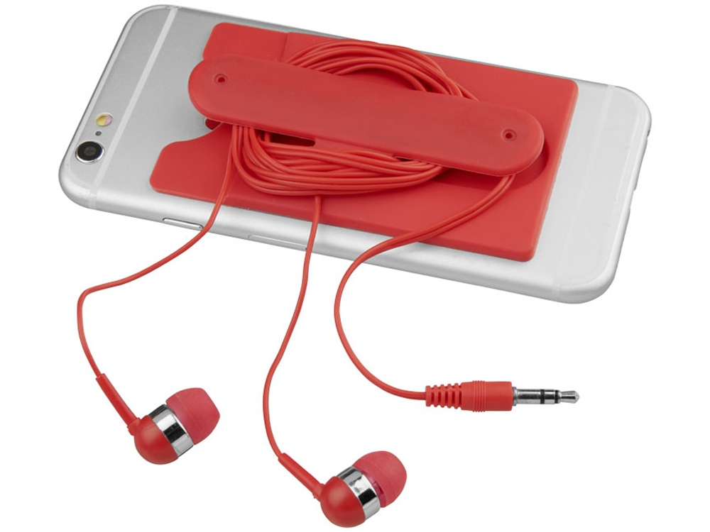Проводные наушники и силиконовый бумажник для телефона