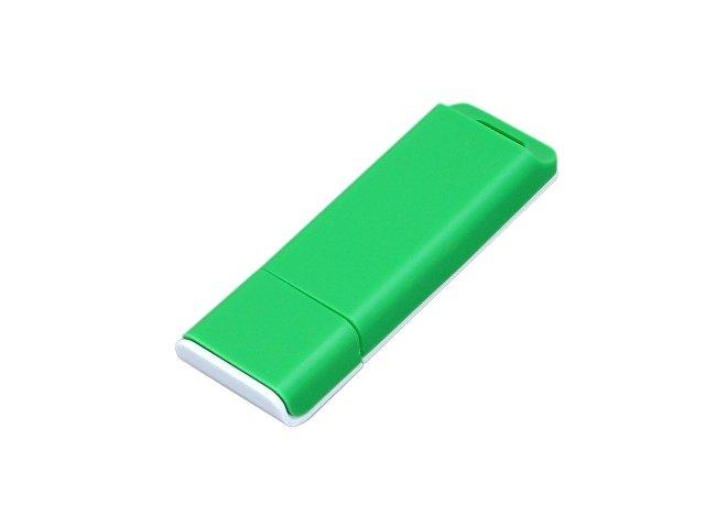 Флешка прямоугольной формы, оригинальный дизайн, двухцветный корпус, 32 Гб, зеленый/белый