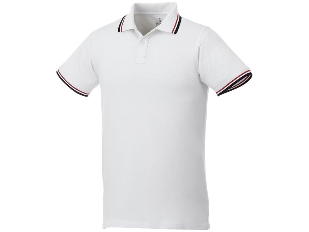 Мужская футболка поло Fairfield с коротким рукавом с проклейкой, белый/темно-синий/красный