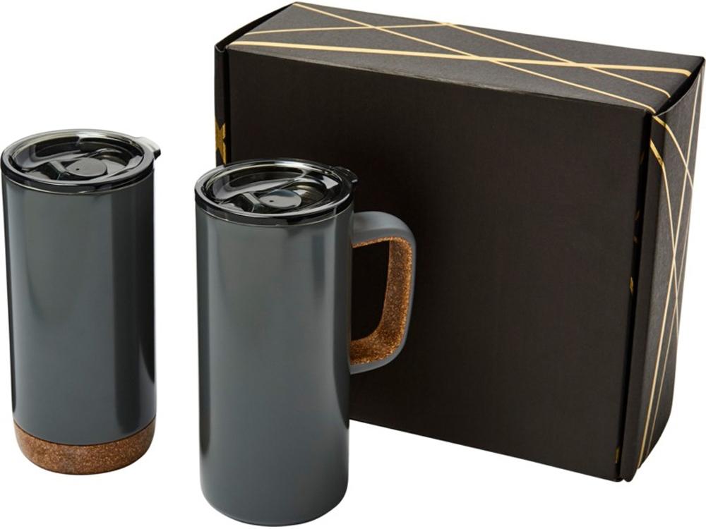 Подарочный набор Valhalla из медной вакуумной кружки и термокружки, серый