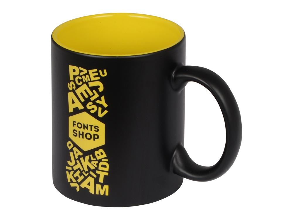 Кружка с покрытием для гравировки Subcolor BLK, черный/желтый