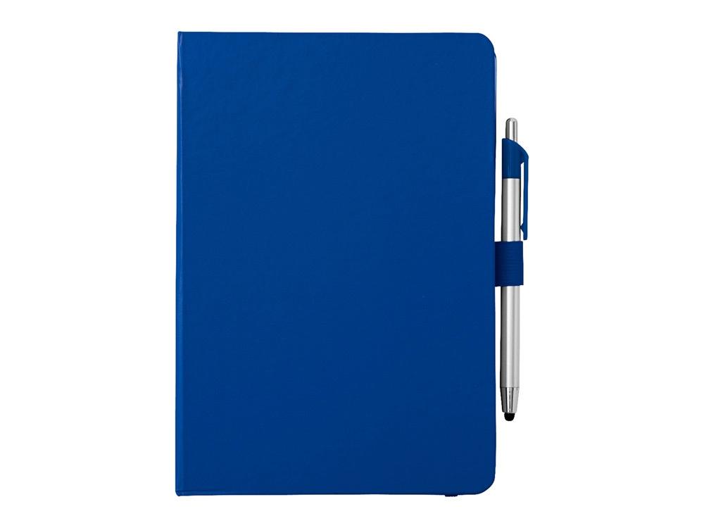 Блокнот A5 Crown с шариковой ручкой-стилусом, синий/серебристый