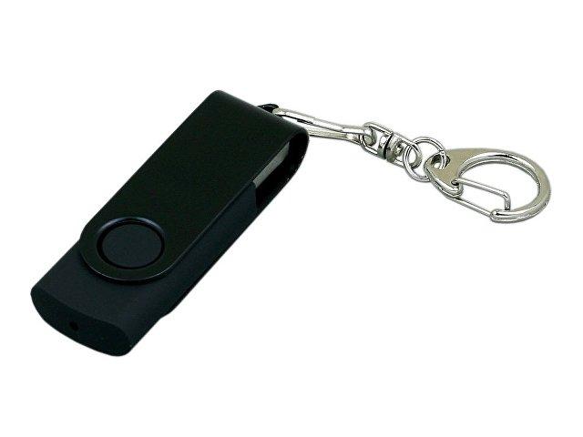 Флешка промо поворотный механизм, с однотонным металлическим клипом, 64 Гб, черный