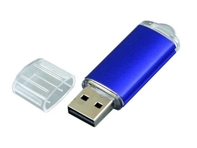 Флешка промо прямоугольной формы  c прозрачным колпачком, 64 Гб, синий