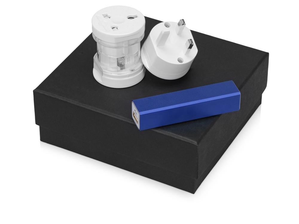 Подарочный набор Charge с адаптером и зарядным устройством, синий