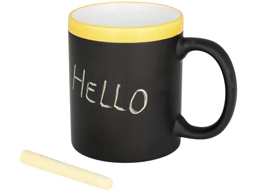 Кружка, на которой можно писать мелом, желтый