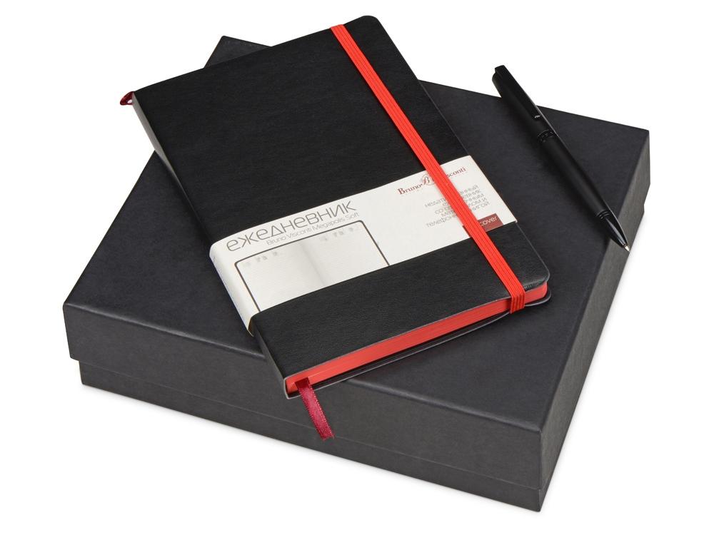 Подарочный набор Bruno Visconti Megapolis Soft: ежедневник А5 недат., ручка шарик., черный/красный