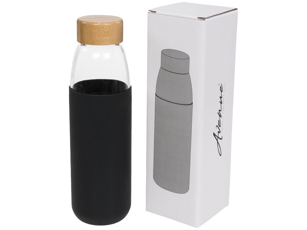 Стеклянная спортивная бутылка Kai с деревянной крышкой и объемом 540 мл, черный