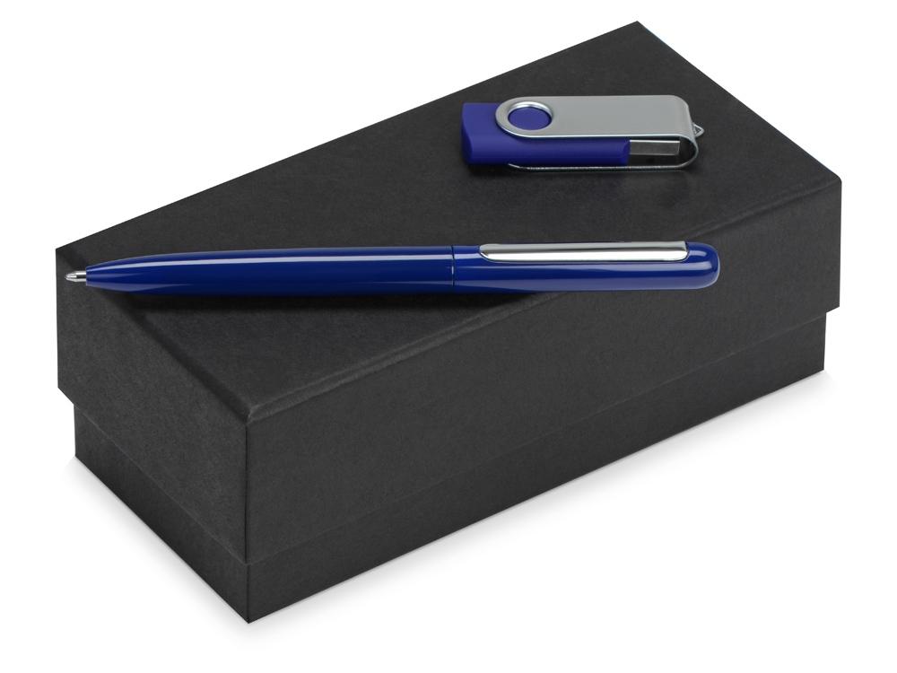 Подарочный набор Skate Mirro с ручкой для зеркальной гравировки и флешкой, синий