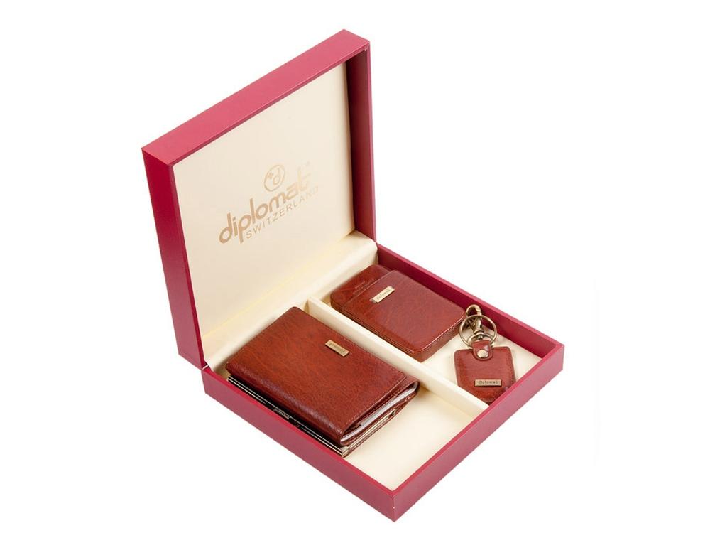 Подарочный набор: дамское портмоне, визитница и брелок