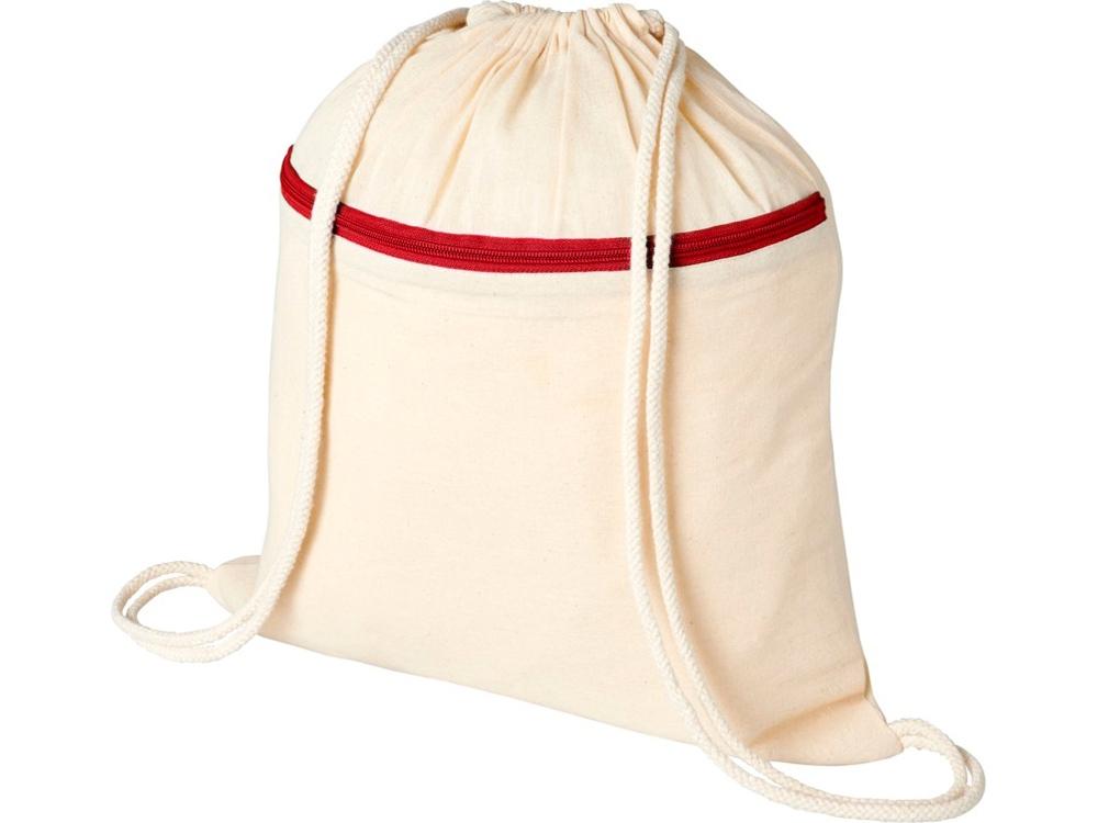 Рюкзак Oregon на молнии с кулиской, натуральный/красный