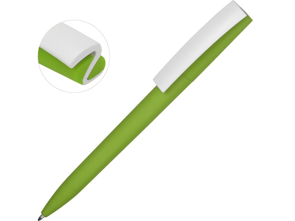 Ручка пластиковая soft-touch шариковая Zorro, зеленое яблоко/белый