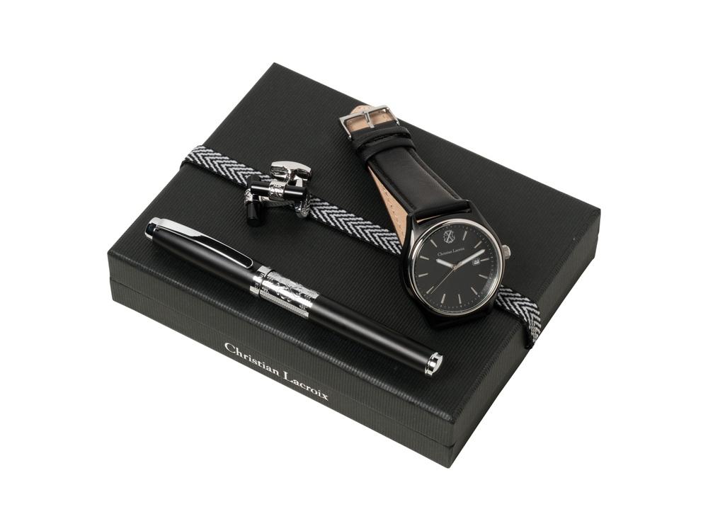 Подарочный набор: часы наручные, запонки, ручка-роллер. Christian Lacroix