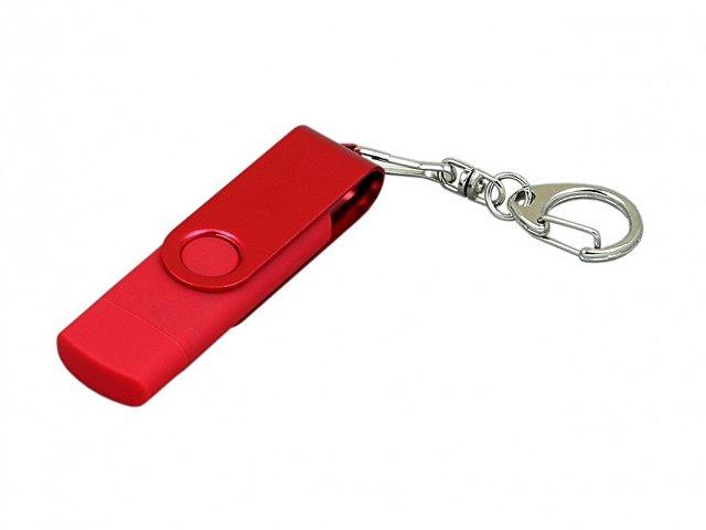 Флешка с поворотным механизмом, c дополнительным разъемом Micro USB, 32 Гб, красный