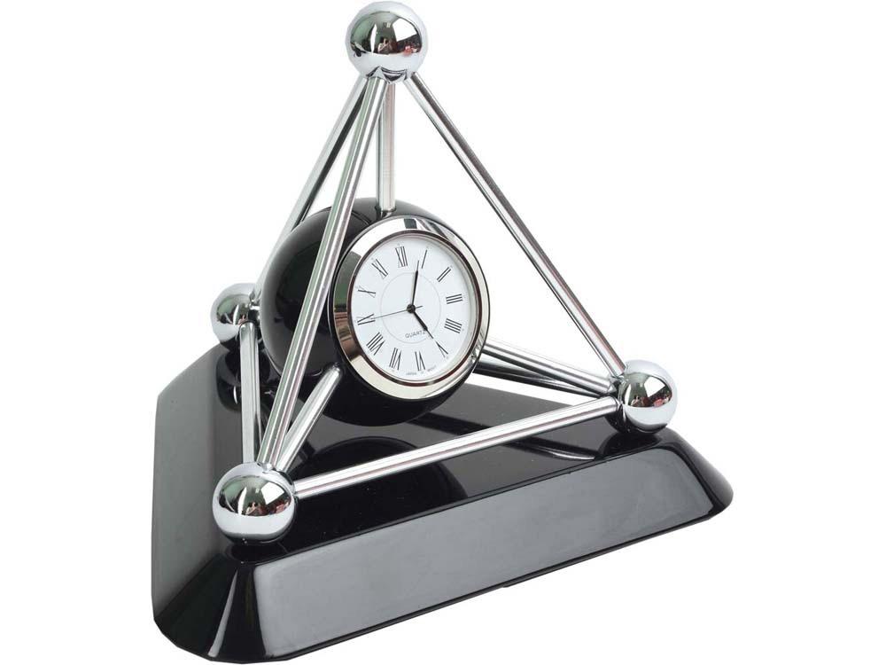 Часы настольные Атом, черный/серебристый