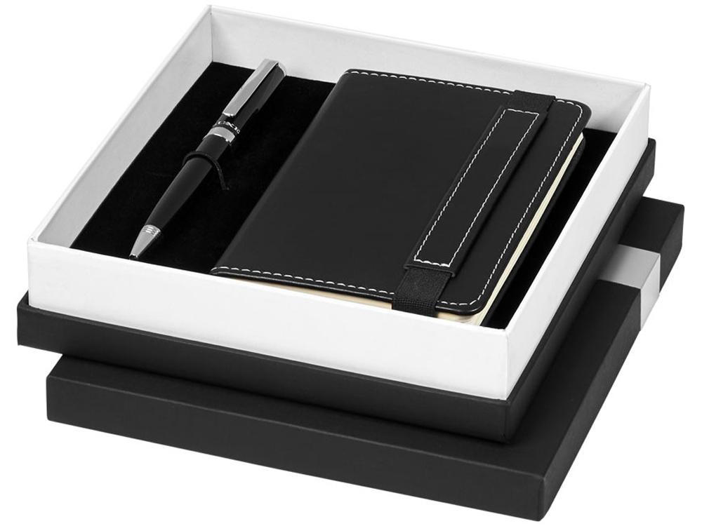 Подарочный набор Legatto из блокнота форматаА6 и шариковой ручки, черный