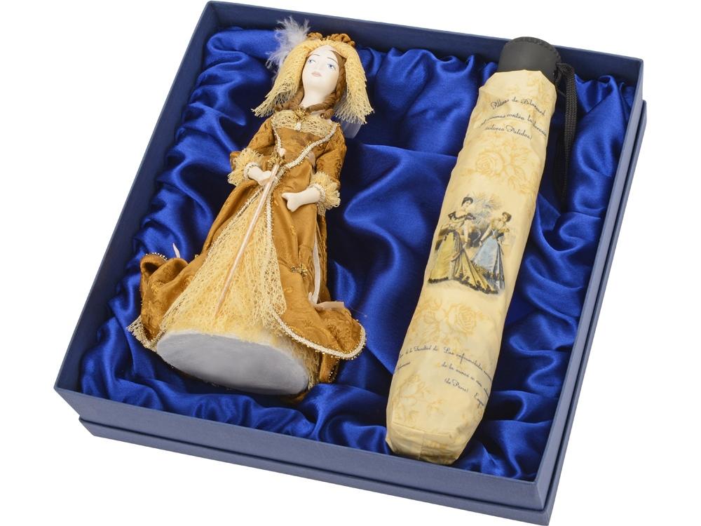 Набор Оксфорд-стрит: кукла декоративная, зонт, светло-коричневый/кремовый