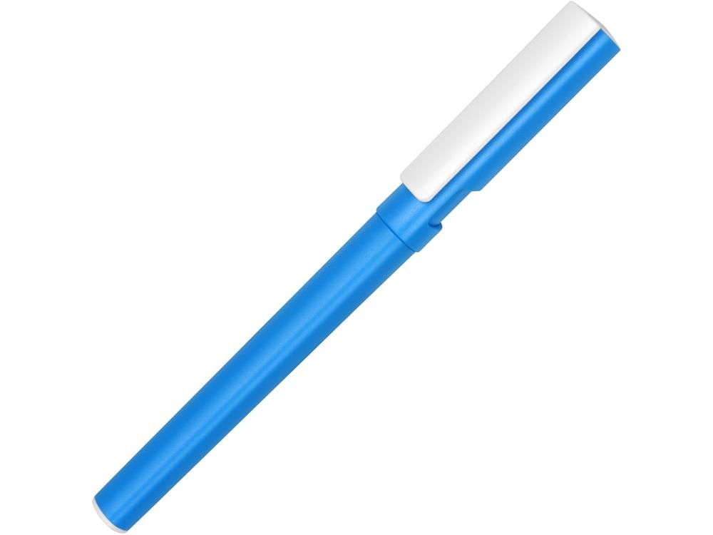Ручка пластиковая шариковая трехгранная Nook с подставкой для телефона в колпачке, голубой/белый