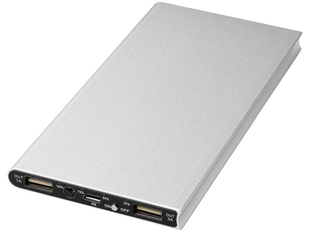 Алюминиевое портативное зарядное устройство Plate 8000мА∙ч, серебристый