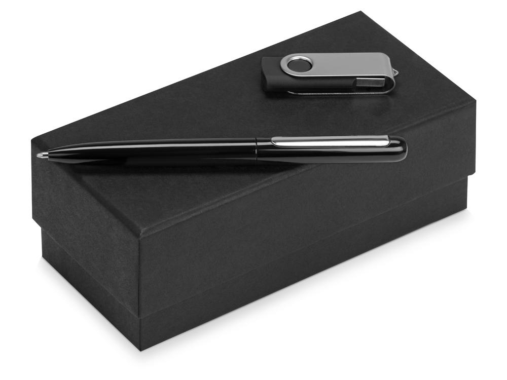 Подарочный набор Skate Mirro с ручкой для зеркальной гравировки и флешкой, черный