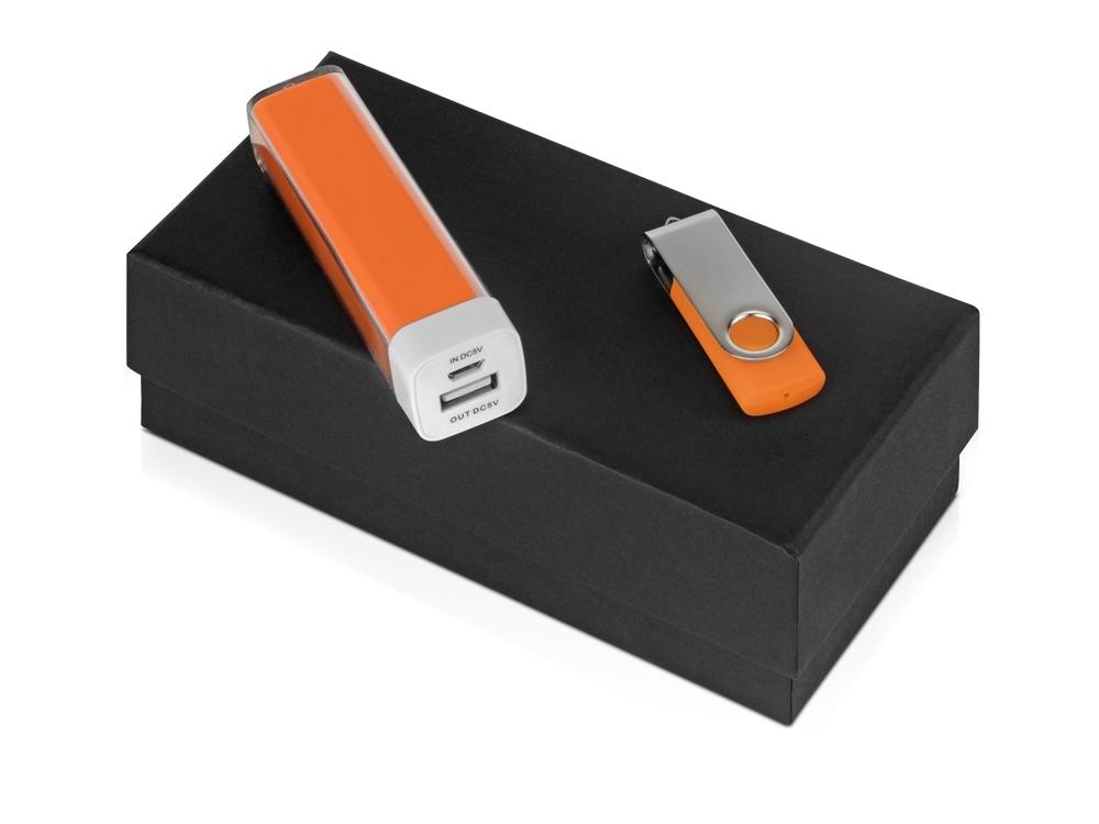 Подарочный набор Flashbank с флешкой и зарядным устройством, оранжевый