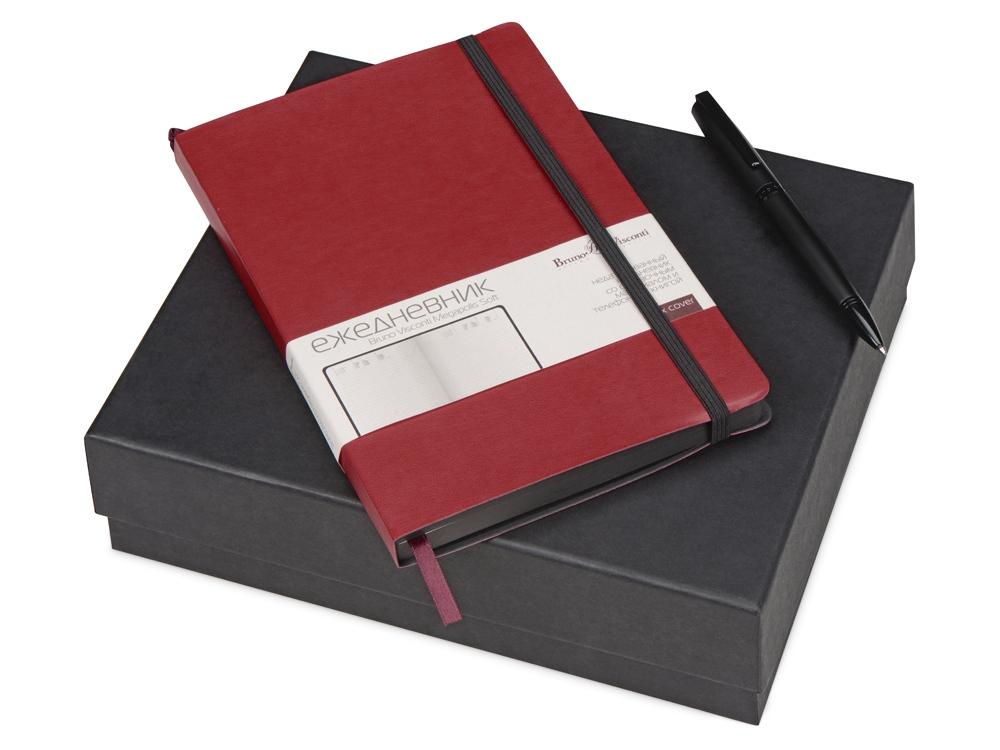 Подарочный набор Bruno Visconti Megapolis Soft: ежедневник А5 недат., ручка шарик., бордо/черный