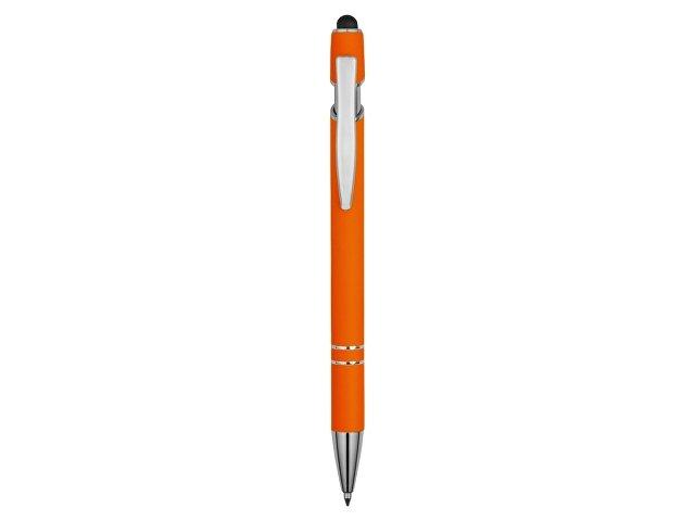 Ручка металлическая soft-touch шариковая со стилусом «Sway», оранжевый/серебристый
