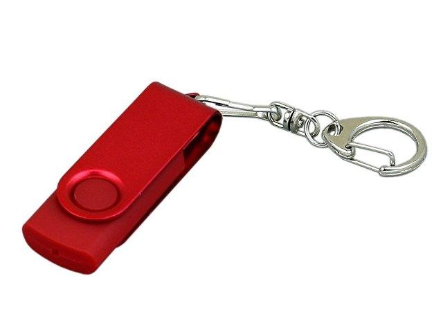 Флешка промо поворотный механизм, с однотонным металлическим клипом, 64 Гб, красный