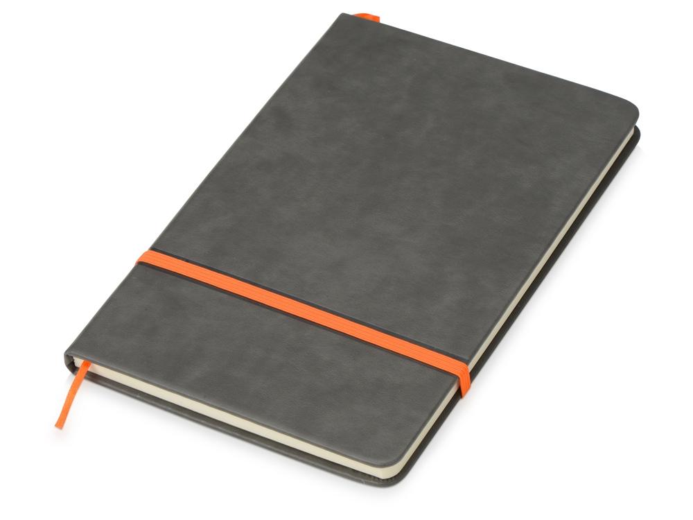 Блокнот Color линованный А5 в твердой обложке с резинкой, серый/оранжевый
