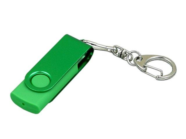 Флешка промо поворотный механизм, с однотонным металлическим клипом, 64 Гб, зеленый