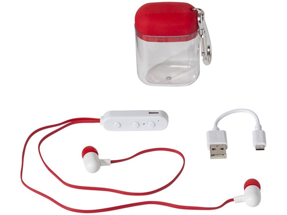 Наушники с функцией Bluetooth® с чехлом с карабином, красный