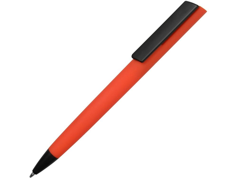 Ручка пластиковая soft-touch шариковая Taper, красный/черный