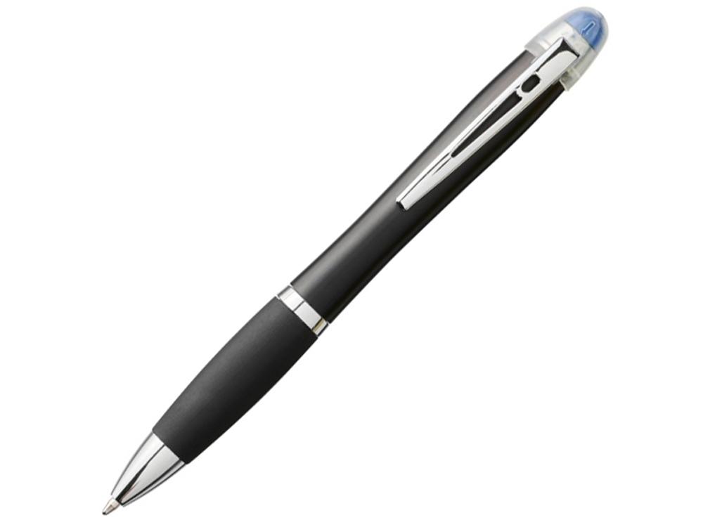 Светящаяся шариковая ручка Nash со светящимся черным корпусом и рукояткой, синий