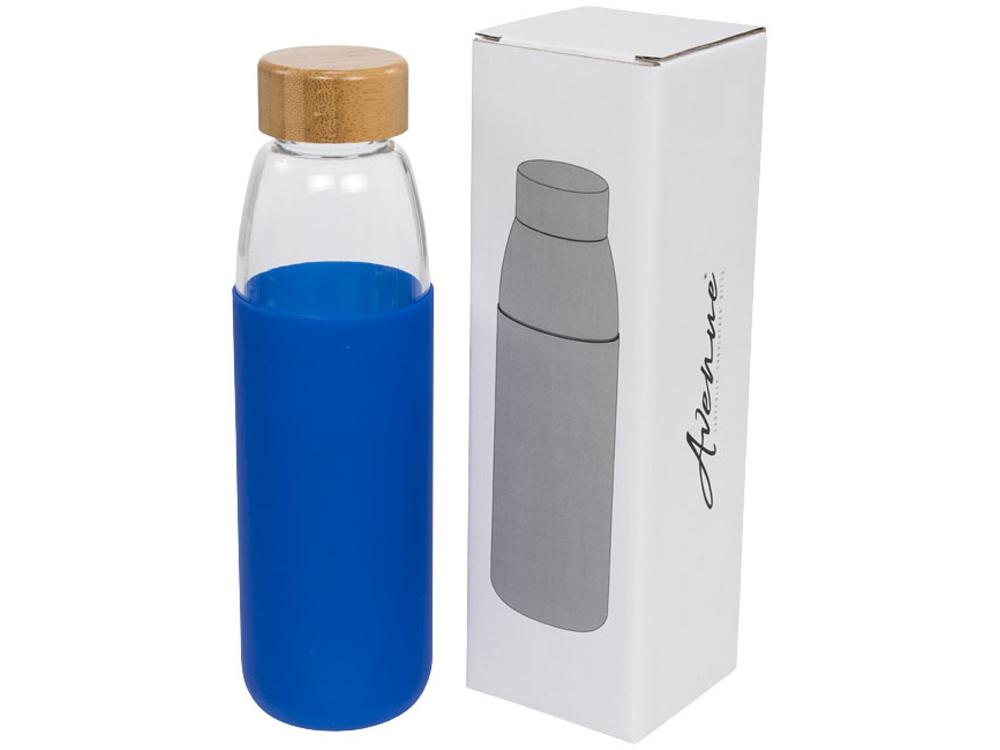 Стеклянная спортивная бутылка Kai с деревянной крышкой и объемом 540 мл, синий