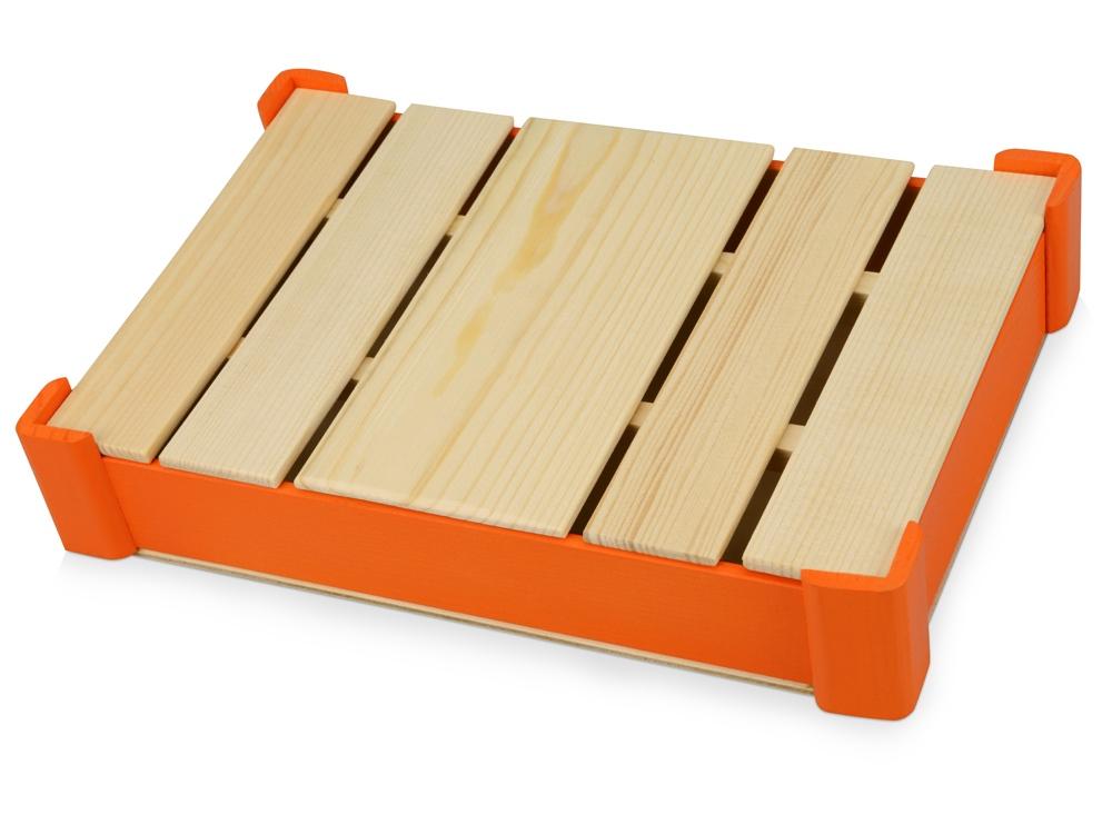 Подарочная деревянная коробка, оранжевый