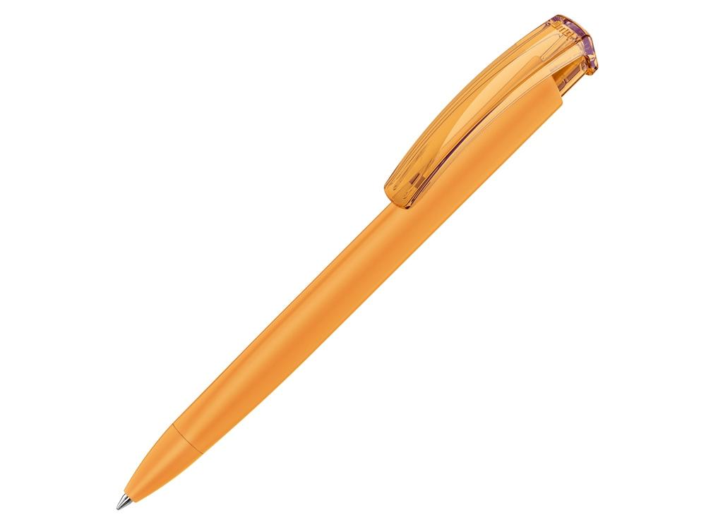 Ручка шариковая трехгранная UMA TRINITY K transparent GUM, soft-touch, охра