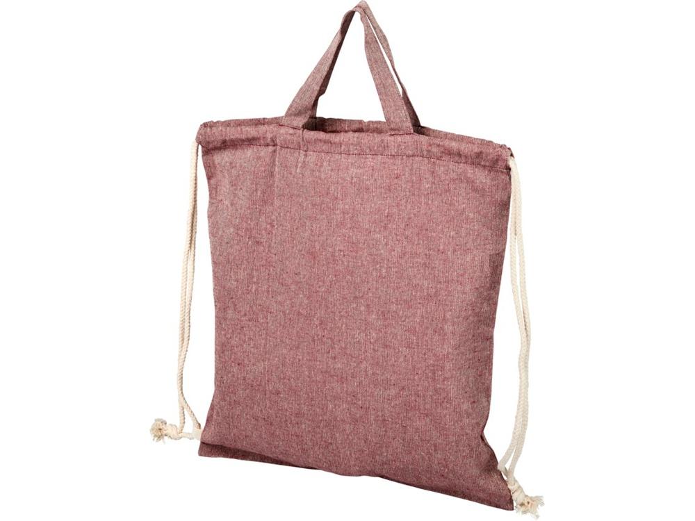 Рюкзак со шнурком Pheebs из 150г/м² переработанного хлопка, heather maroon