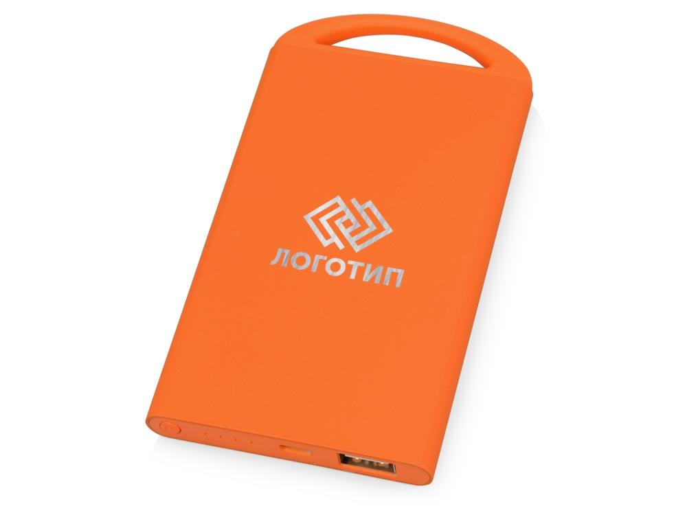 Портативное зарядное устройство Shine с зеркальной гравировкой, 4000 mAh, оранжевый