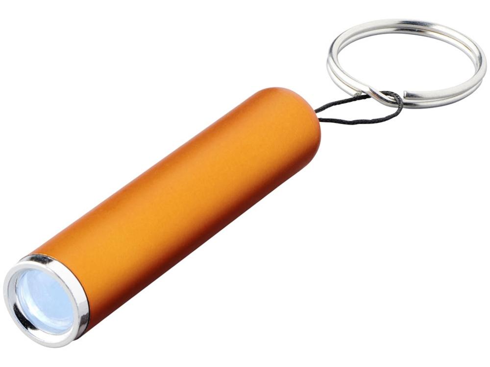 Фонарик-брелок Pull со светящимся логотипом, оранжевый