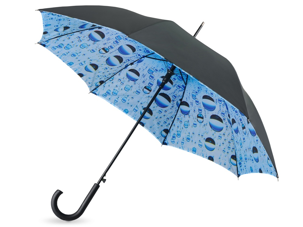 Зонт-трость Капли воды полуавтоматический с двухслойным куполом, черный голубой