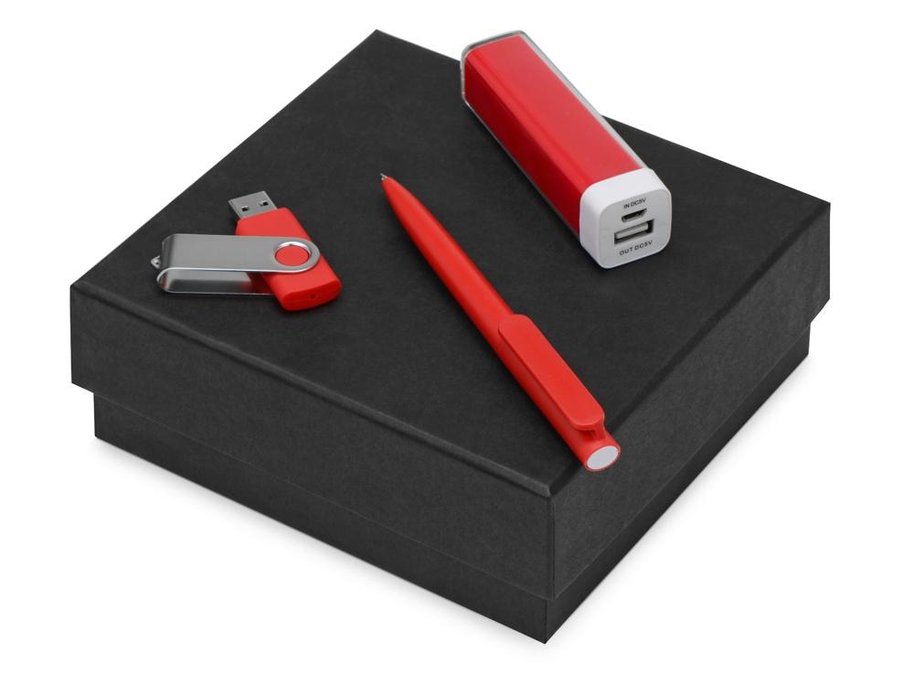 Подарочный набор On-the-go с флешкой, ручкой и зарядным устройством, красный