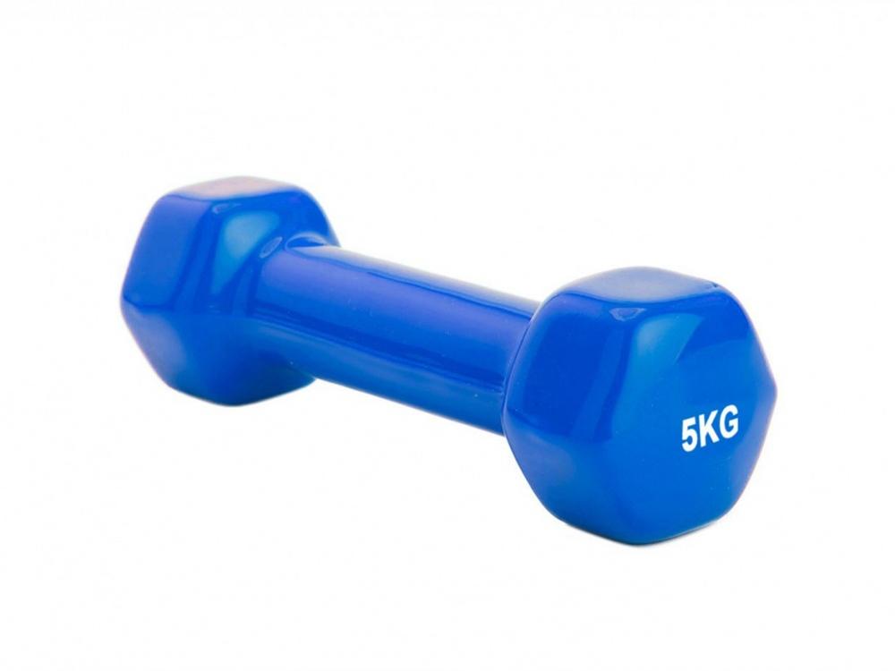 Гантель обрезиненная HULK, 5 кг, синий