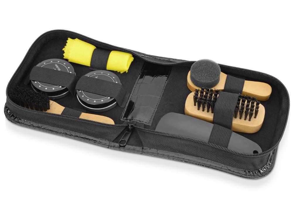 Набор для чистки обуви Шайн, черный, желтый, дерево