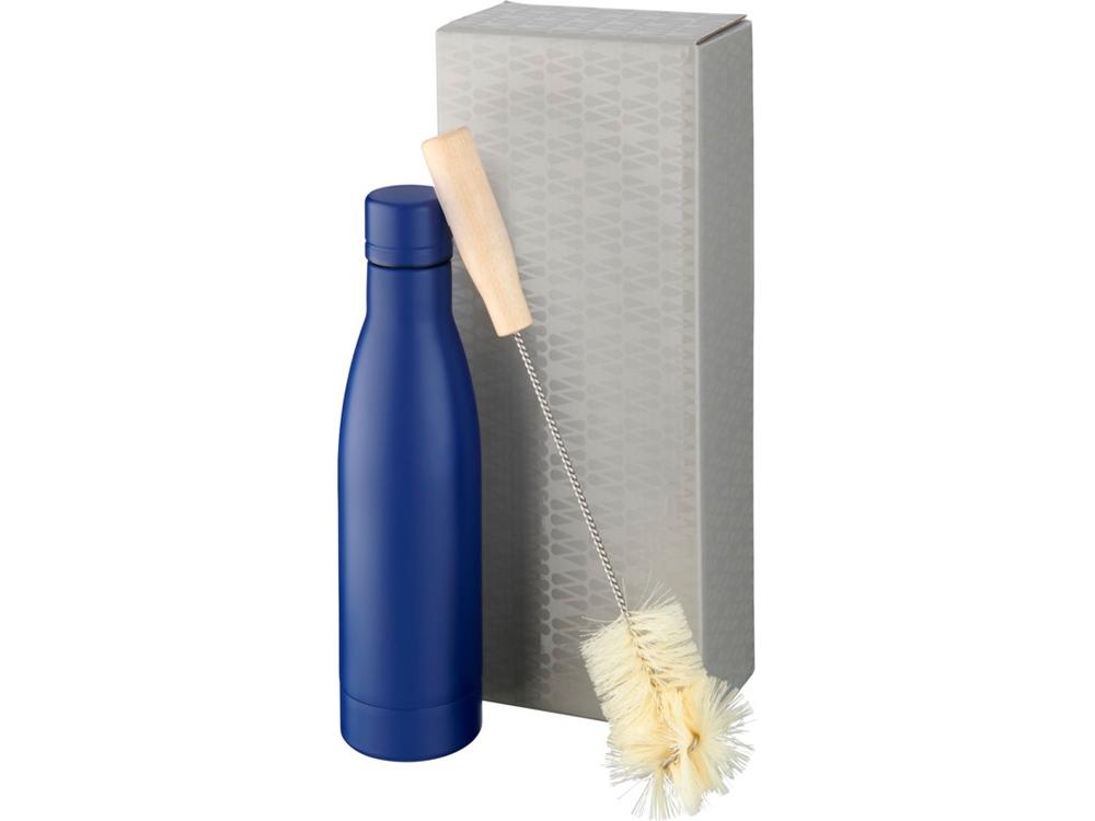 Набор из медной бутылки с вакуумной изоляцией Vasa и щетки, cиний