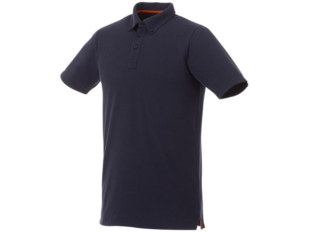 Мужская футболка поло Atkinson с коротким рукавом и пуговицами, темно-синий