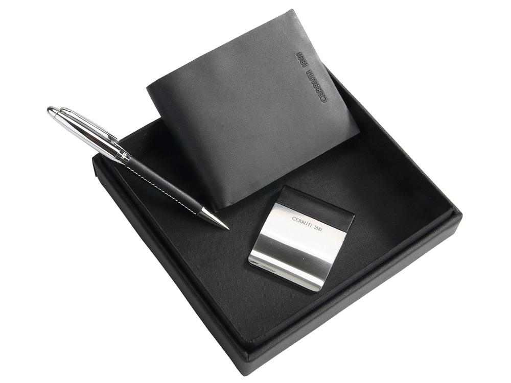 Подарочный набор: портмоне, зажим для денег, ручка шариковая. Cerruti 1881