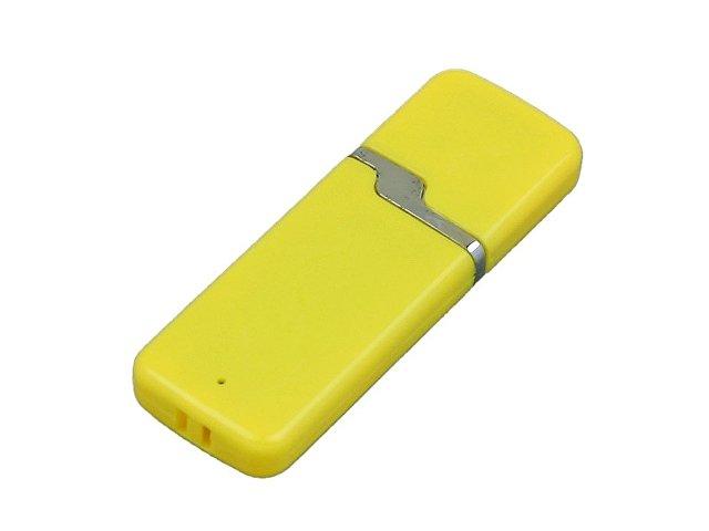 Флешка промо прямоугольной формы c оригинальным колпачком, 64 Гб, желтый