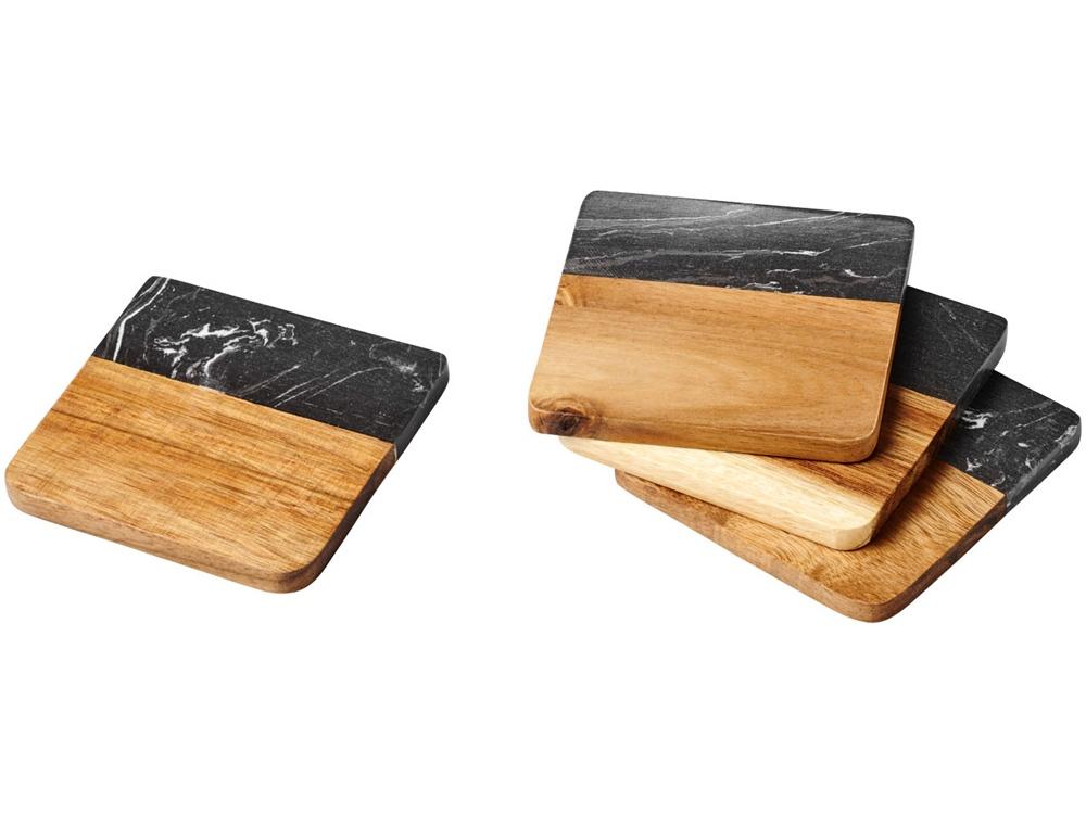 Мраморные и деревянные подставки Harlow, дерево,серый