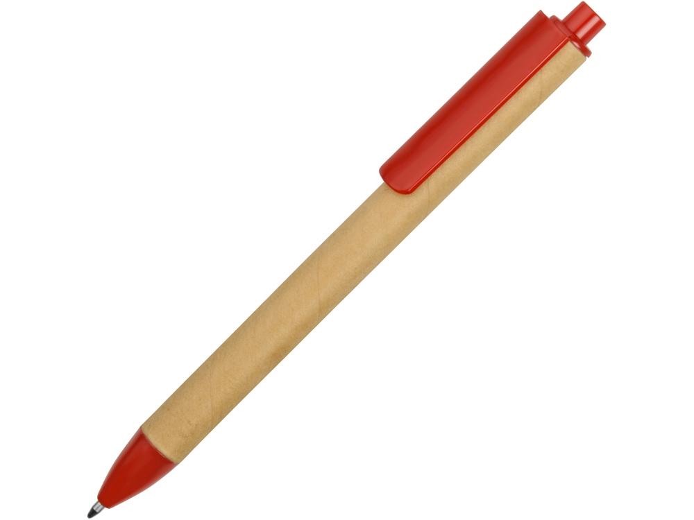 Ручка картонная пластиковая шариковая Эко 2.0, бежевый/красный